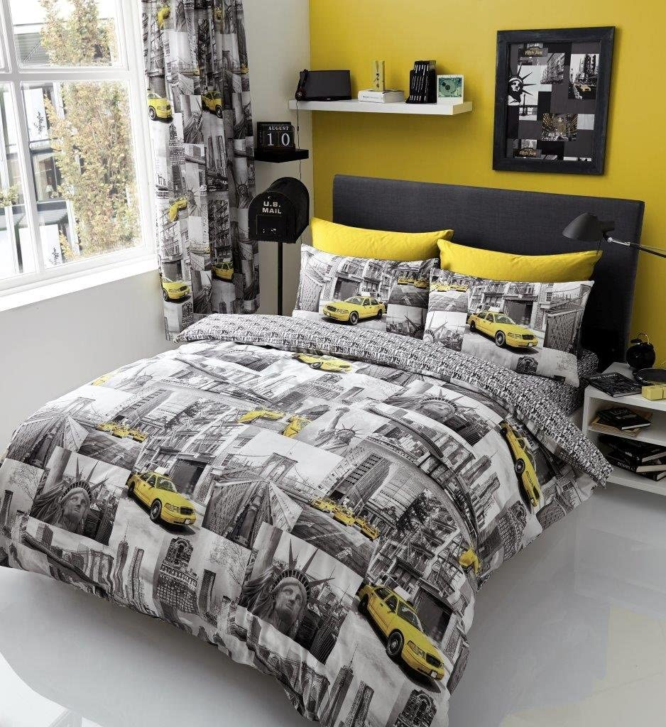 New York Print Duvet Cover with Pillow Case Quilt Cover Bedding Set