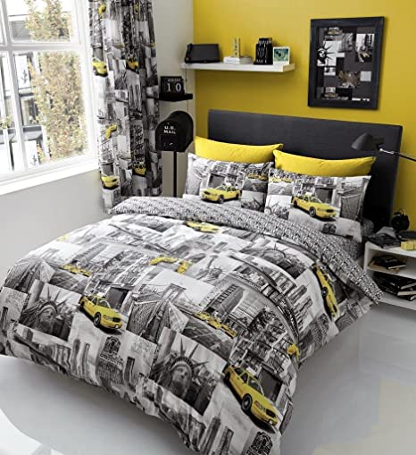 Modern Newyork Duvet Cover Bed Set With PillowCases Single Double King Superking