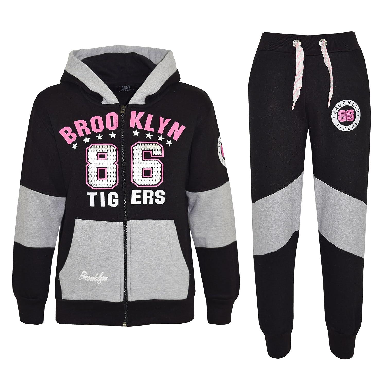 Kids Girls Tracksuit Brooklyn 86 Tigers Print Hoodie & Bottom Jog Suit 7-13 Year