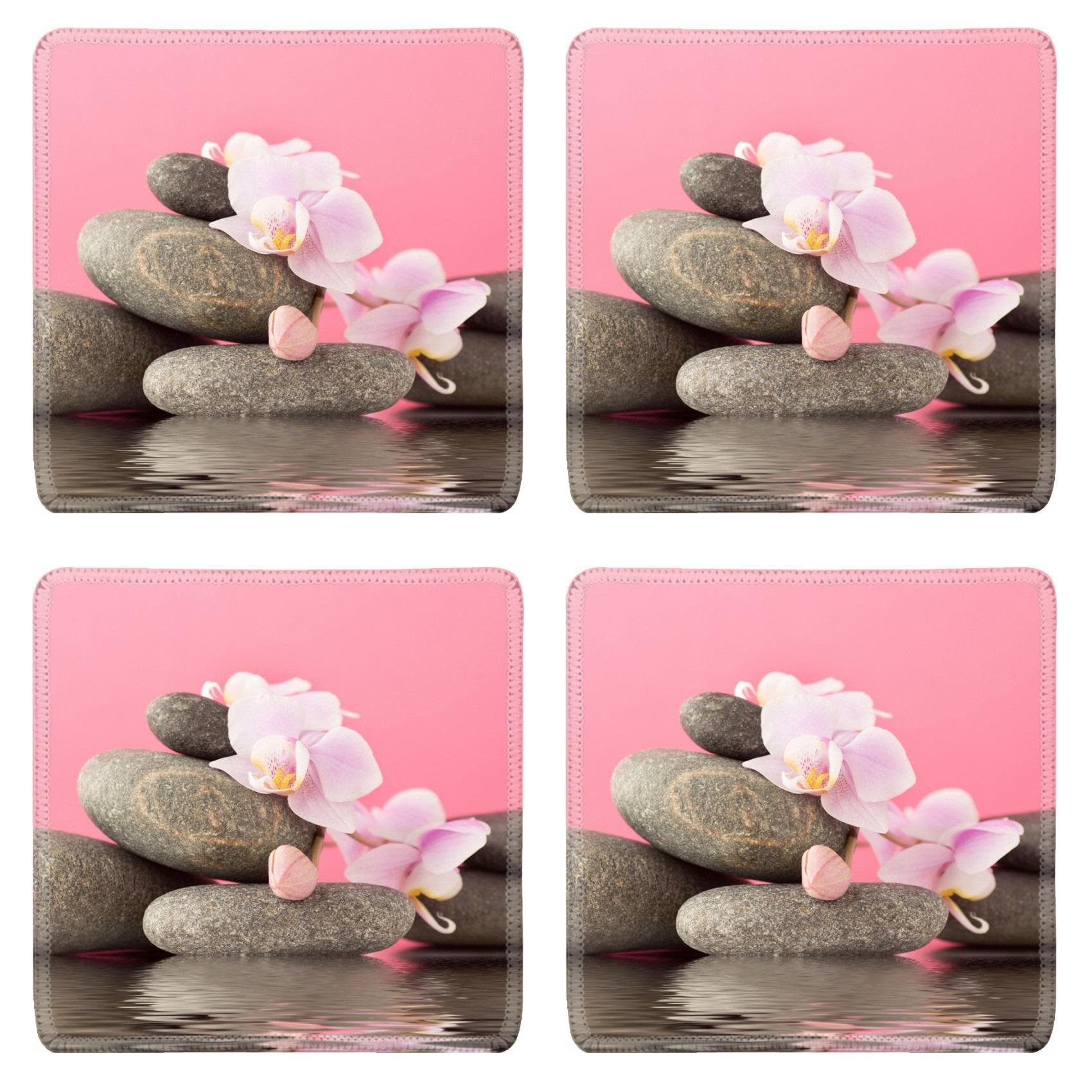 MSD Square Coasters Non-Slip Natural Rubber Desk Coasters design 28544324 Spa stones on pink background with orchids