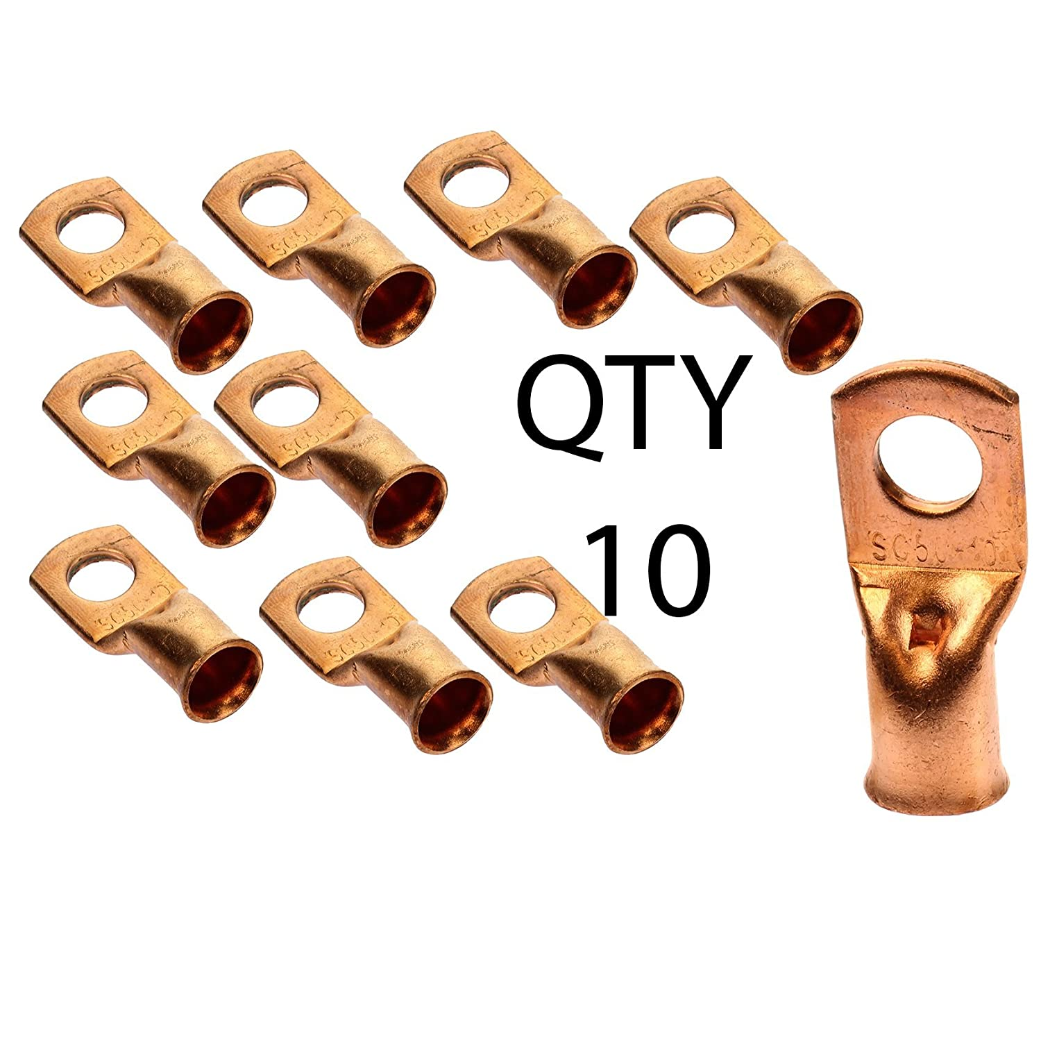 Voodoo 10 Wire Ring Terminal Copper 1//0 AWG Gauge 3//8 Connectors Car Audio Terminals