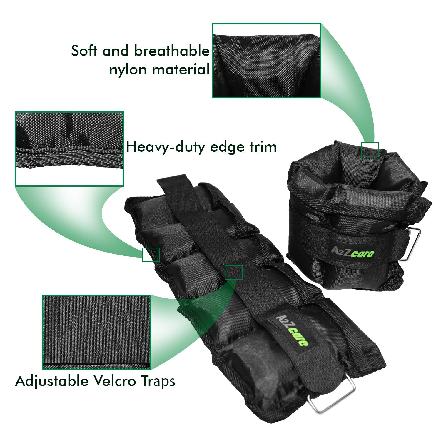 Exercise Fitness - A Comfortable Leg Weights Set for Gymnastics Walking A2ZCARE Ankle//Wrist Weights for Men and Women Sold in Pair