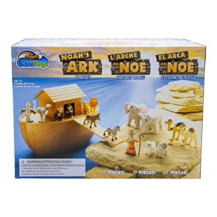 BibleToys Noahs Ark 18 Piece Playset with Noah, 14 Animals and Floating Ark- Christian Based Faith Children Toys