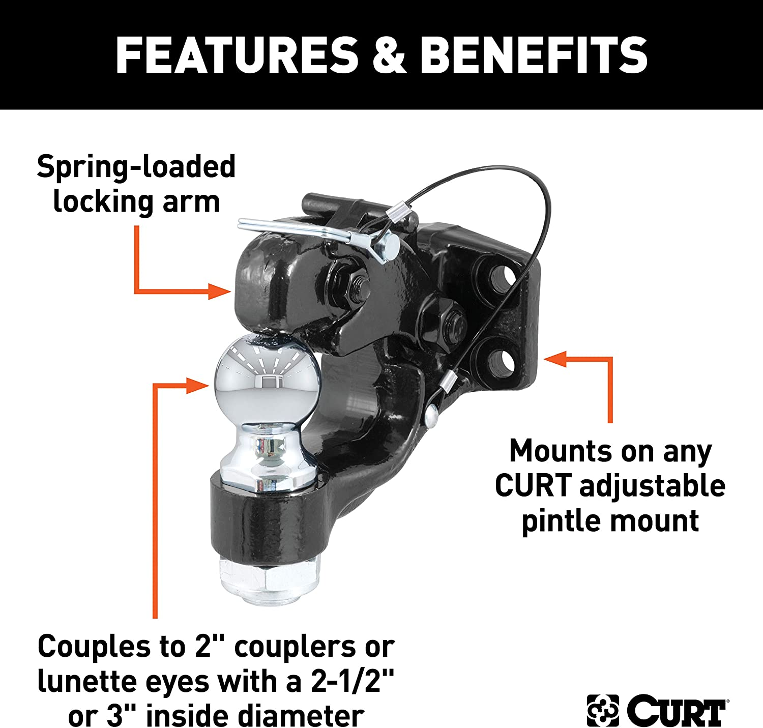 Curt Manufacturing 48190 2 In Ball and Pintle Combination