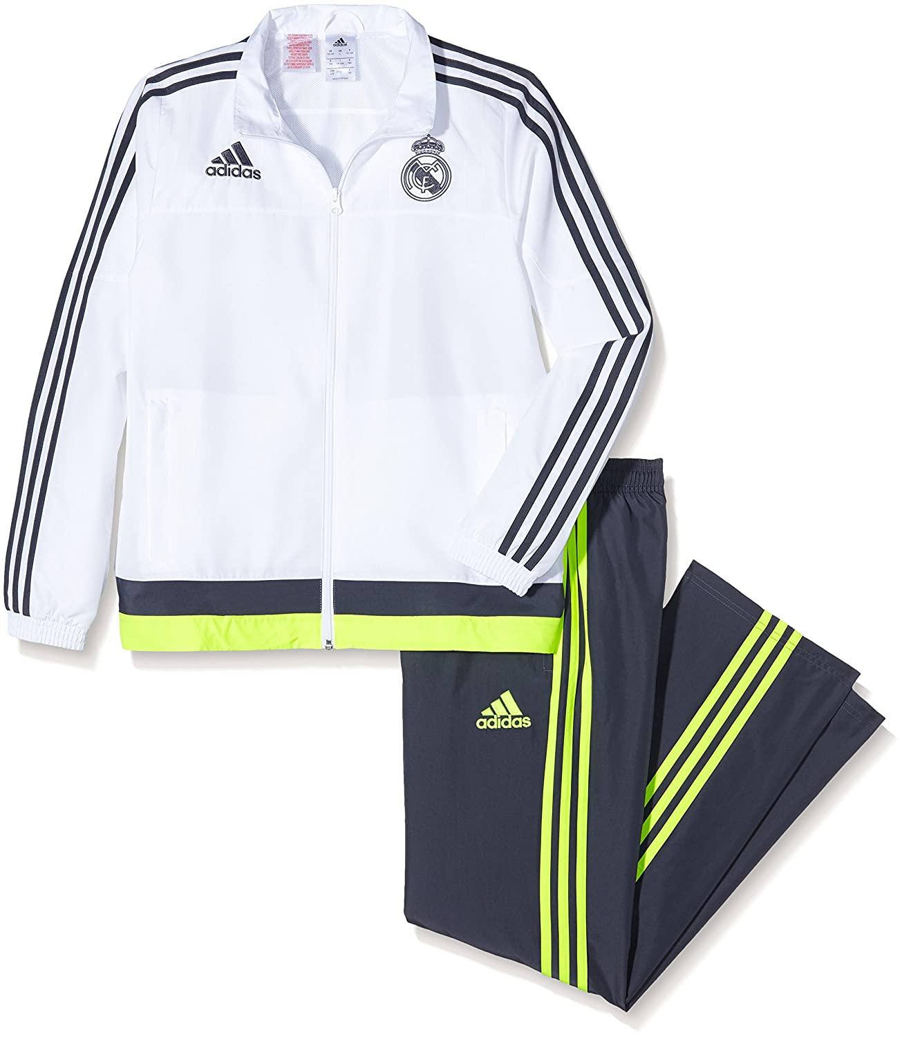 2015-2016 Real Madrid Adidas Presentation Tracksuit (White-Black) - Kids S87864