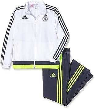adidas Real Pr Suit Y - Chándal para niño, Color Blanco/Gris/Lima, Talla 176: Amazon.es: Deportes y aire libre