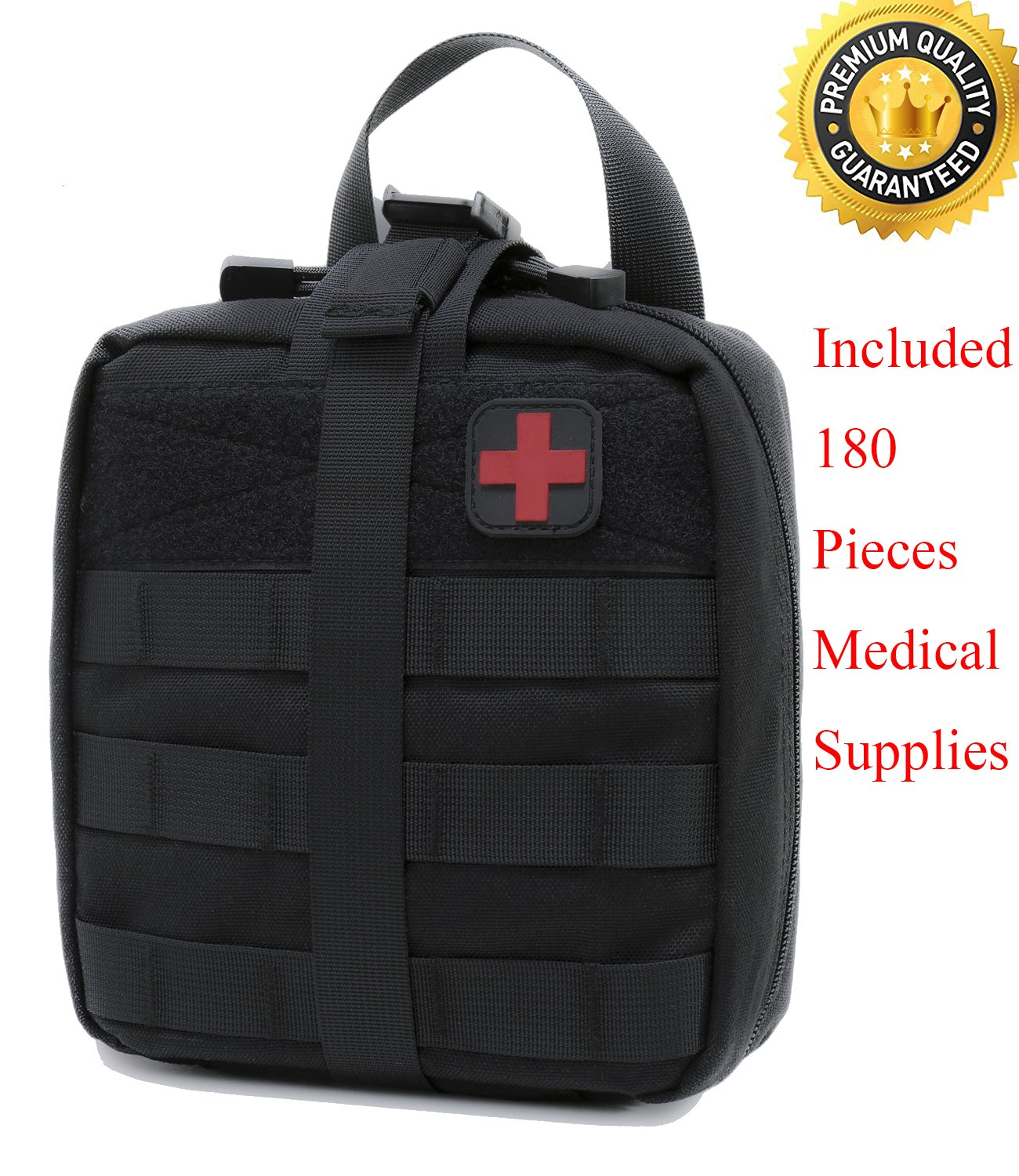 Carlebben Rip-Away EMT Pouch Molle Pouch Ifak Pouch Medical First Aid Kit Utility Pouch 1000D Nylon (with Medical Supplies)