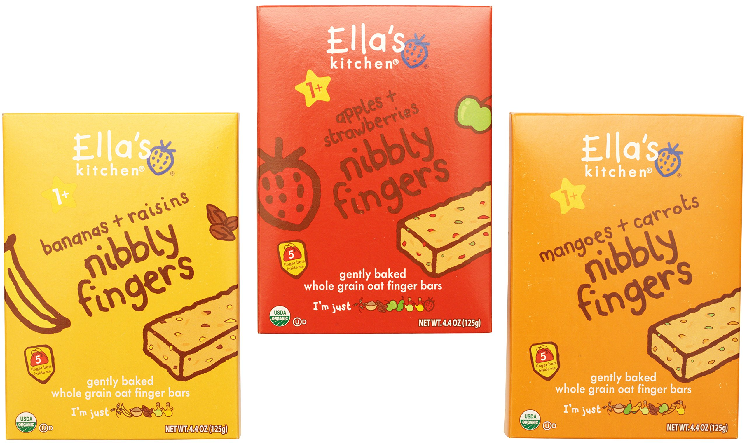 Ella's Kitchen Nibbly Fingers Organic Bundle: (1) Mangoes and Carrots 4.4oz, (1) Apples and Strawberries 4.4oz, (1) Bananas and Raisins 4.4oz (3 Pack Total) by Ella's Kitchen