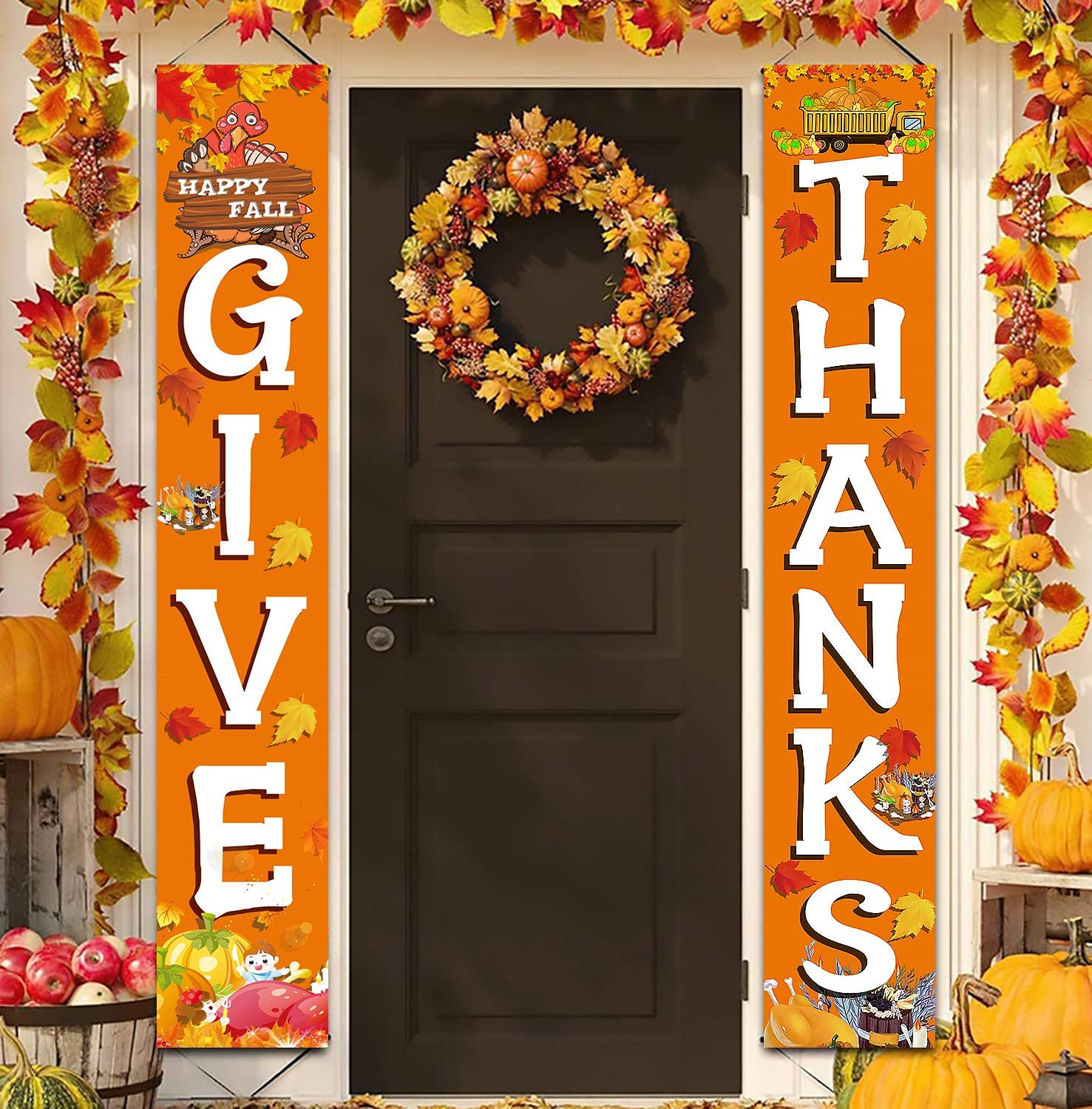 GIVE Thanks Hanging Banner Porch Sign Autumn Pumpkin Maple Leaf Backdrop Flag Fall Harvest Welcome Banner for Indoor Outdoor Wall Door Decoration Thanksgiving Party Decorations 72