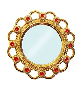 BAAL Fancy Mirror for Home Decoration, 80g (Golden) - Pack of 1