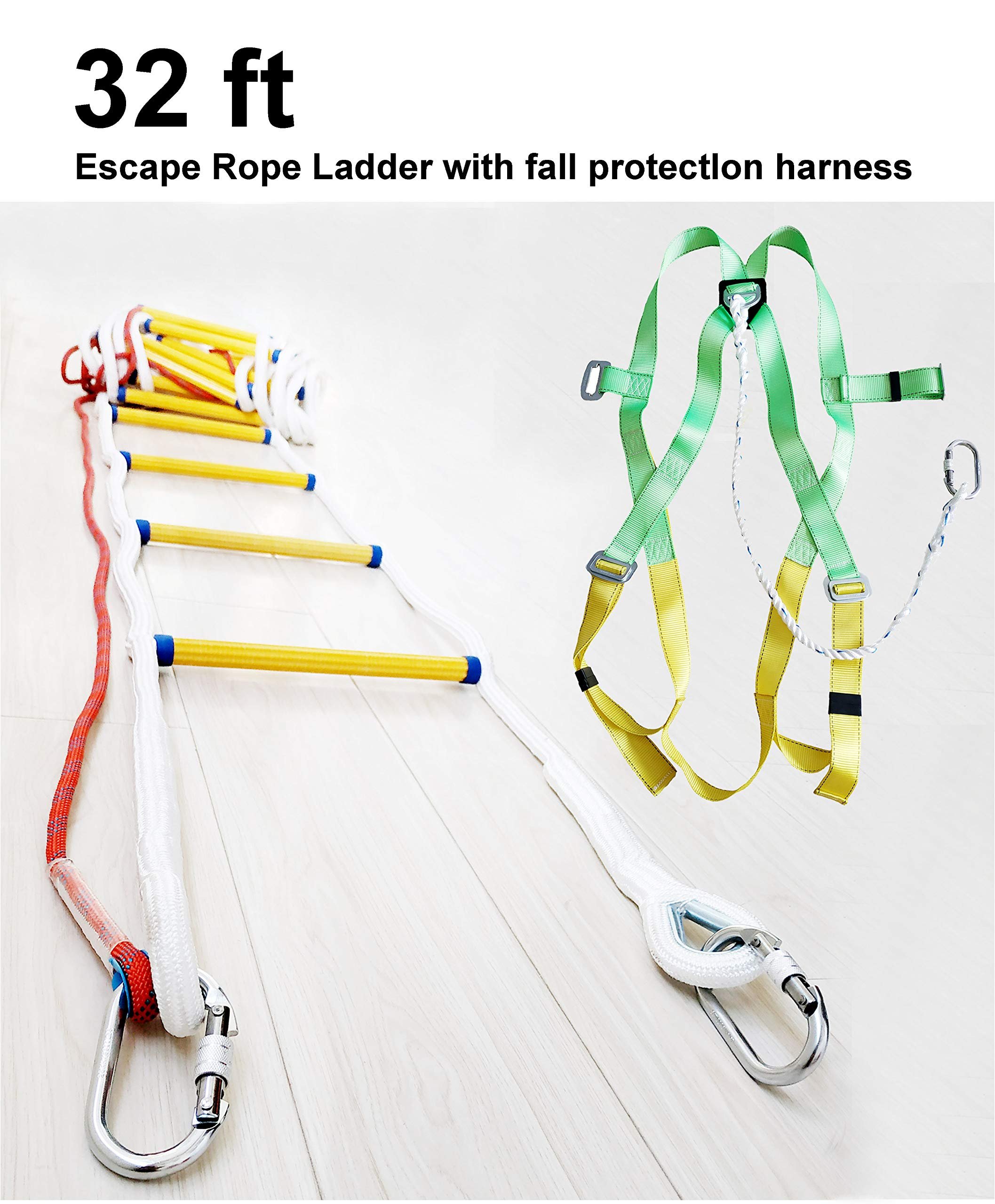 Emergency Escape Rope Ladder Kit 3-4 Story Homes 32 ft Flame Resistant Fire Safety Ladders with Fall Protection Harness with Safety Cord - Fast Deploy & Simple to Use -Reusable