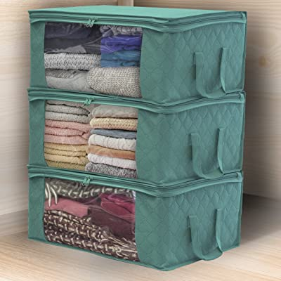 Foldable Storage Bag Organizers Great for Clothes 3 Sections Blankets Closet