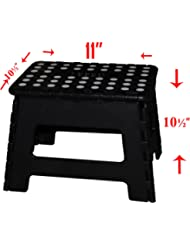 11'' Super Quality / Heavy Duty Folding Step Stool with handle, Non Slip for Adults and Kids, Saves Space, / Super Handy - Black