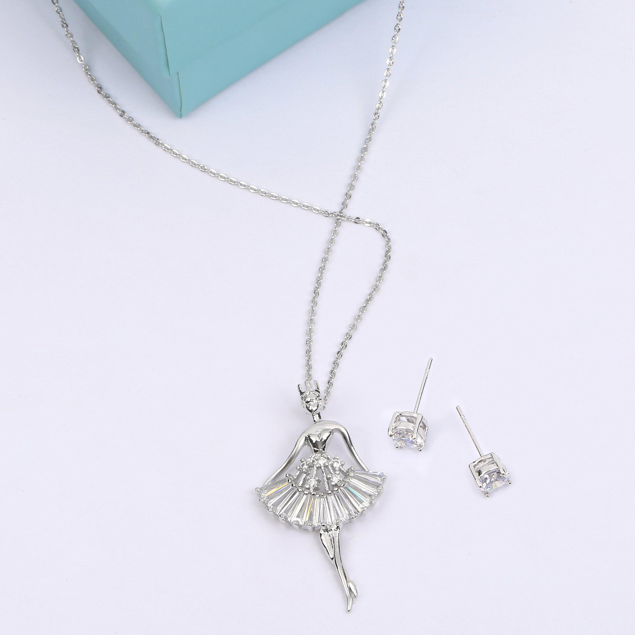 MYKEA Elegant Jewelry Set for Women 18K White Gold Ballerina Girl Pendant Necklace with Cubic Zirconia Stud Earrings for Teen Girls Jewelry by MYKEA (Image #3)