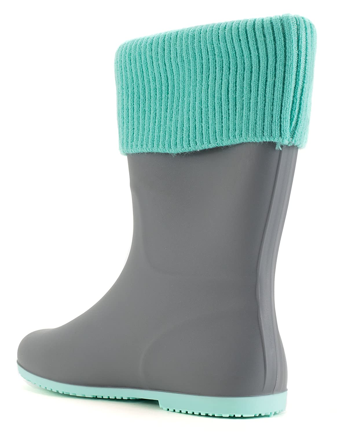 Avanti Storm Rain Boot Waterproof With Removable Knitted Cuff Monogram-Able Foldable B078SY9X73 11 B(M) US|Grey and Teal