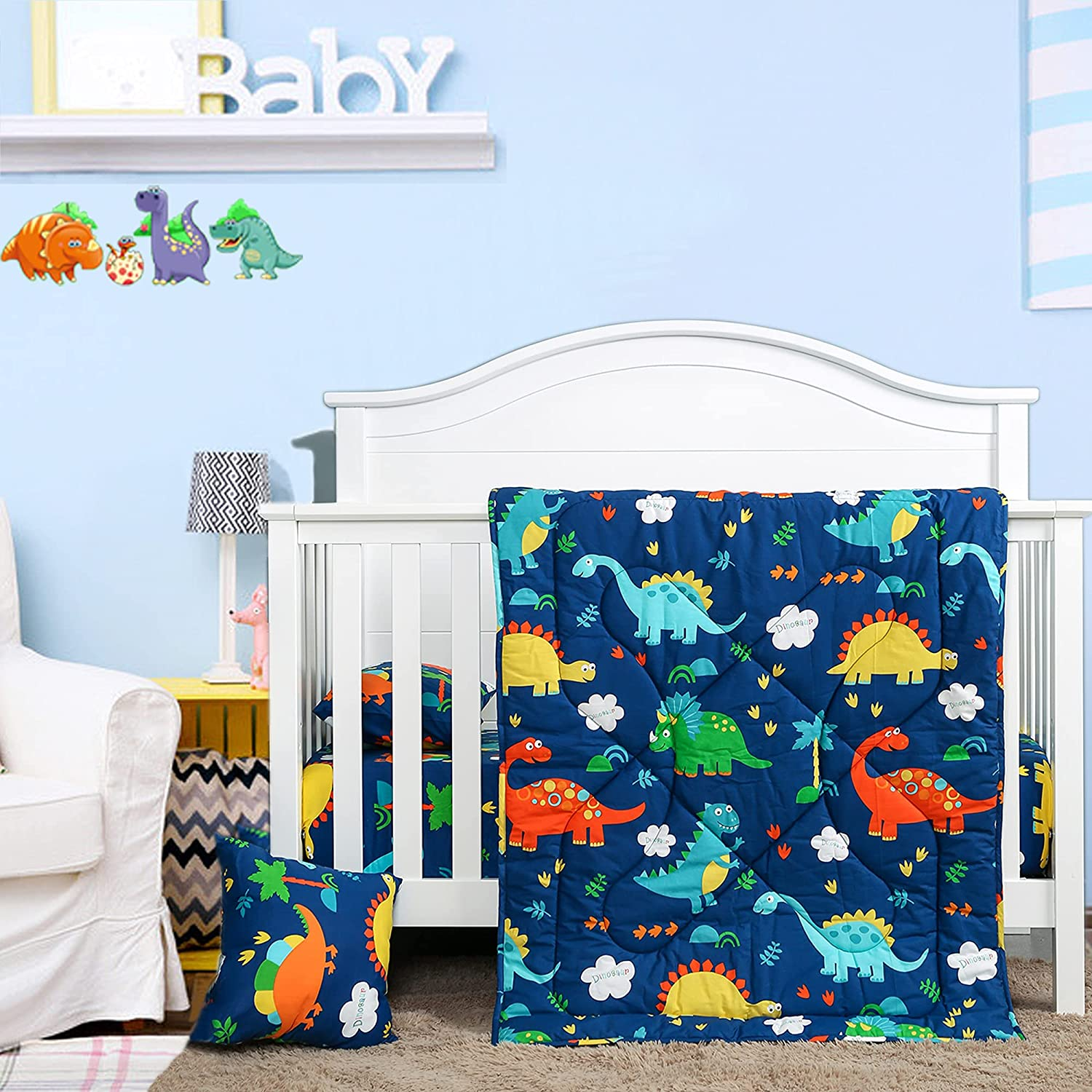 Dinosaur Crib Bedding Set 100% Cotton 3 Piece Baby Nursery Bedding Sets-UOMNY Small Toddler Pillow Case Cover&A Crib Quilt and A Crib Sheet Cute Kids Bedding Set for Boys/Girls