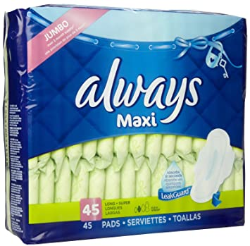 Always Maxi Pads - Long, Super, Flexi-wings 45 Pads