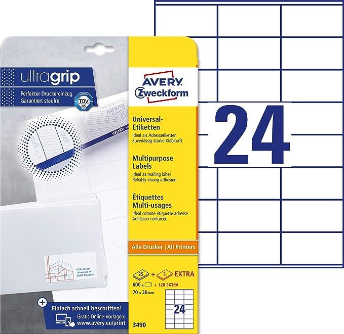 Avery Zweckform 3490 Adressaufkleber A4 Mit Ultragrip 70x36 Mm 30 Blatt Papier Matt Bedruckbare Selbstklebende Adressetiketten 720