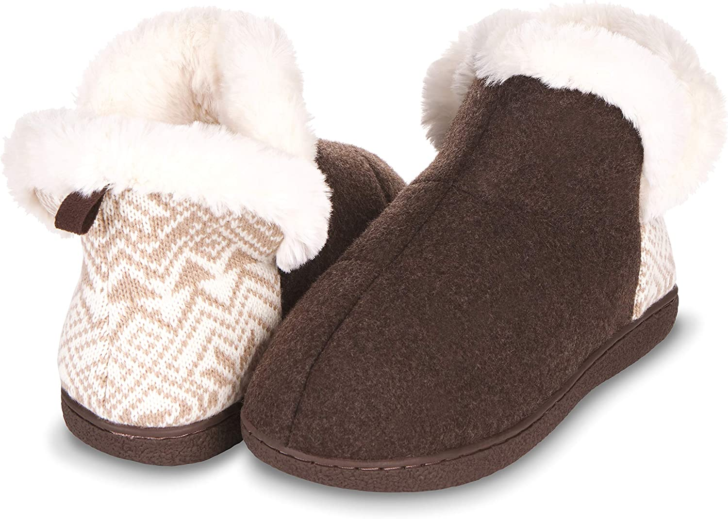 Floopi Indoor, Outdoor Slippers for Women- Fur Lined House Booties, Ankle High, Closed-Back Cut- Triple Memory Foam Insole, Warm, Fuzzy Faux Fur Lining, Rubber Outsole-Slip-ons