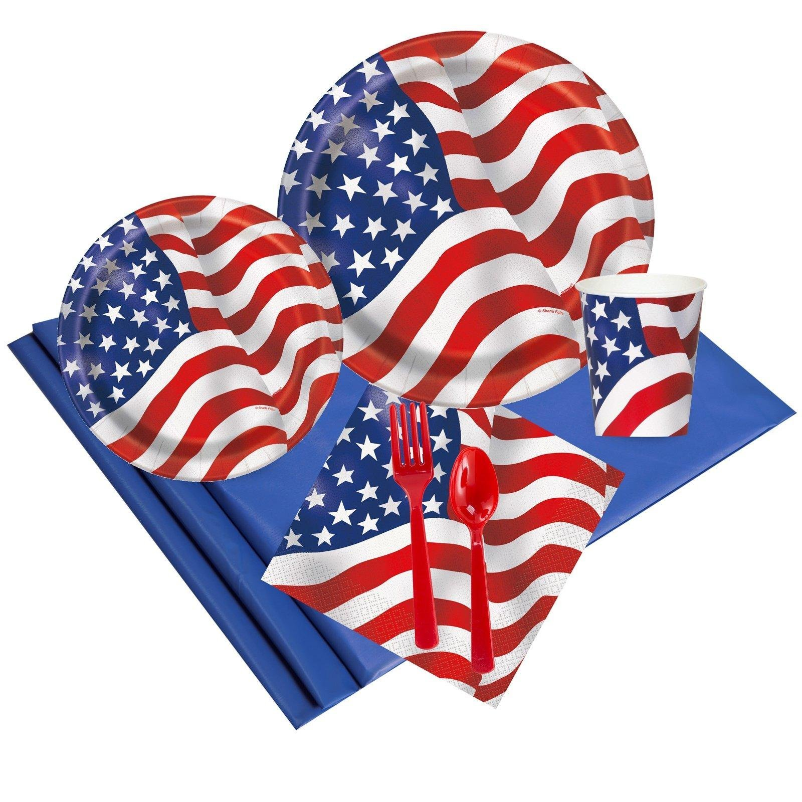Patriotic USA Flag Party Supplies - Party Pack for 24 Guests