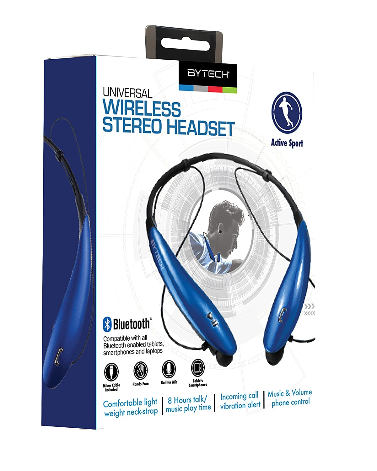 5af4b9115c8 Amazon.com: Bytech Universal Bluetooth Wireless Media Controls Stereo  Headset Blue: Cell Phones & Accessories