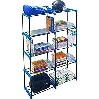 CMerchants 10 Shelf Book Shlef Cabinet Blue Multi use Home Cabinet