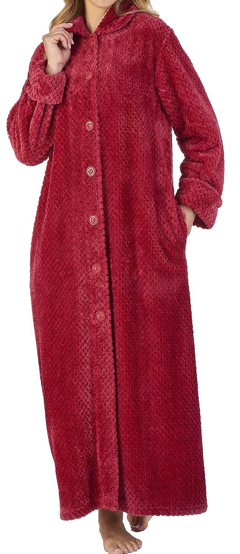 Slenderella Ladies 52/132cm Long Luxury 3000GSM Soft Thick Waffle Fleece Collared Button Up Bath Robe Dressing Gown House Coat Size Small Medium Large XL, XXL & XXXL