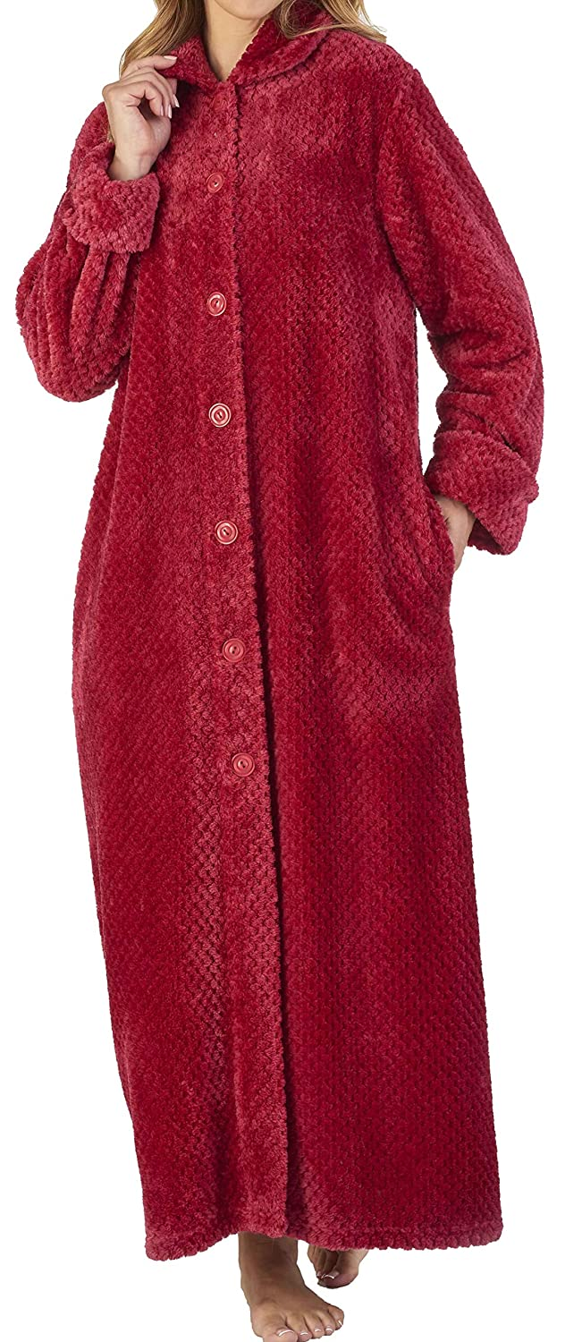 Slenderella Ladies Luxury Soft Thick Fleece Button Up Bath Robe Dressing Gown