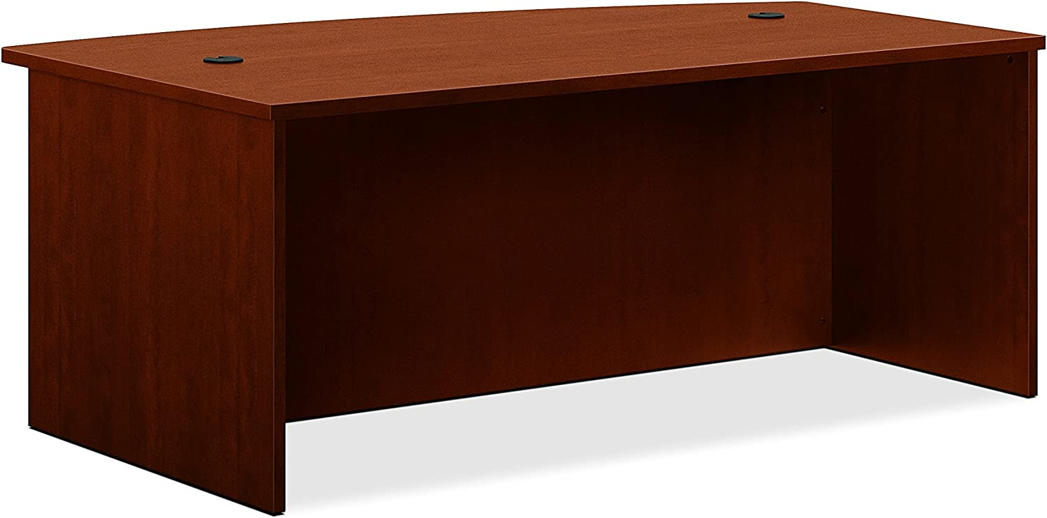 HON BL Laminate Series Office Desk Shell - Bow Front Top Desk Shell, 72w x 42d x 29h, Medium Cherry (HBL2111)