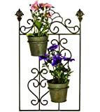 east2eden 2 Pot Rustic Green Metal Garden Wall Hanger