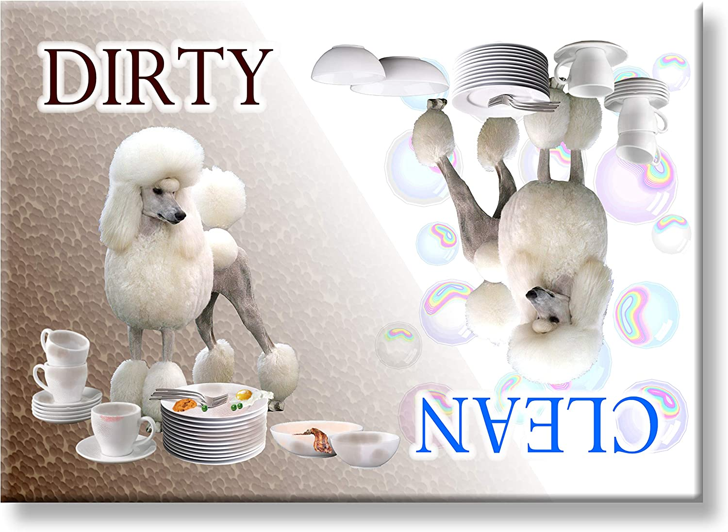 Poodle Clean Dirty Dishwasher Magnet No 1 White