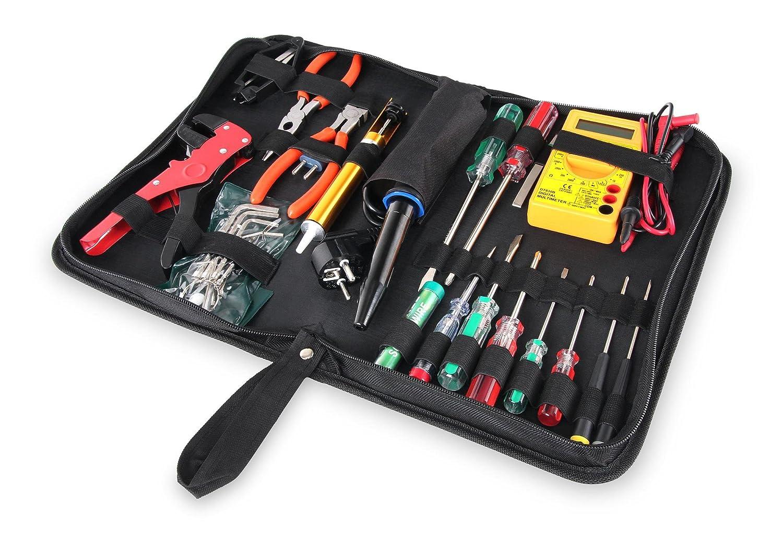 Stagecaptain EWS-15 Elektro-Werkzeug Set (27 Teile, inklusive Lö tkolben und Multimeter, fü r Proberaum, Bü hne, Wohnbereich und Werkstatt, komplett im praktischen Etui)