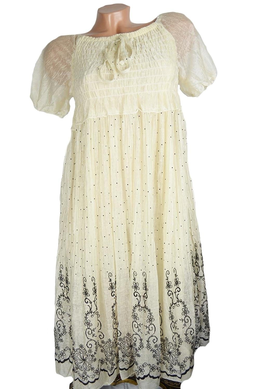 Romantik Look 20% Seide Country Style Sommerkleid Kleid Lagenlook Blümchen 36/38 S/M Floral Blumen Muster Pünktchen