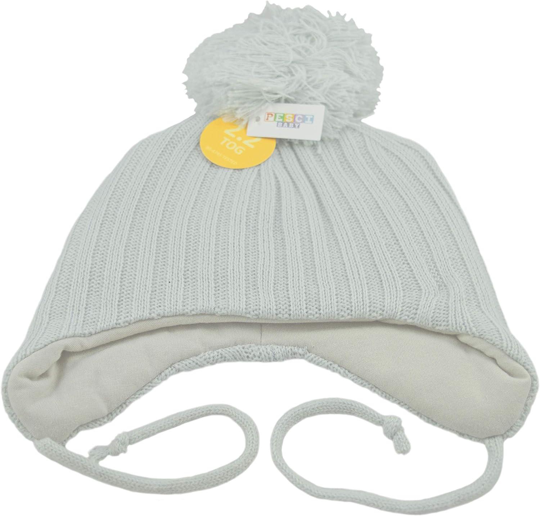 Pesci Baby Bommelm/ütze mit Ohrenklappen und Kinnbinden Winter Strickm/ütze Jungen M/ädchen warm 2,2 Tog