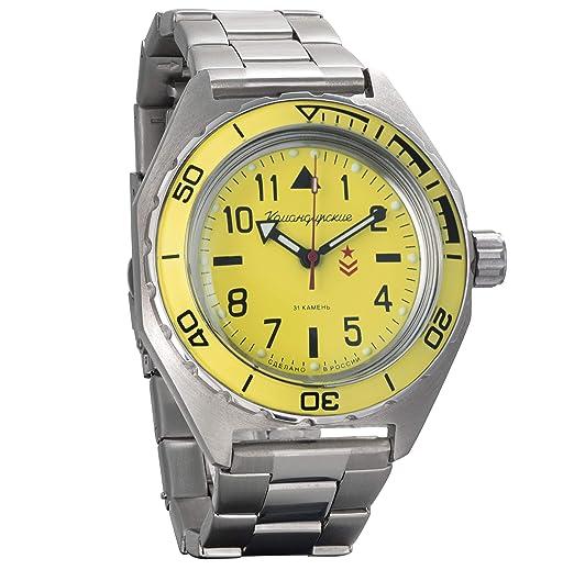 d5b8c56592a7 Vostok Komandirskie Military Russian Mechanical Self-Winding Mens Wrist  Watch 2416B 650859  Amazon.co.uk  Watches