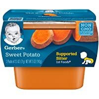 Gerber 1st Foods Sweet Potatoes, 2.5 oz Tubs, 2 Count (Pack of 8)