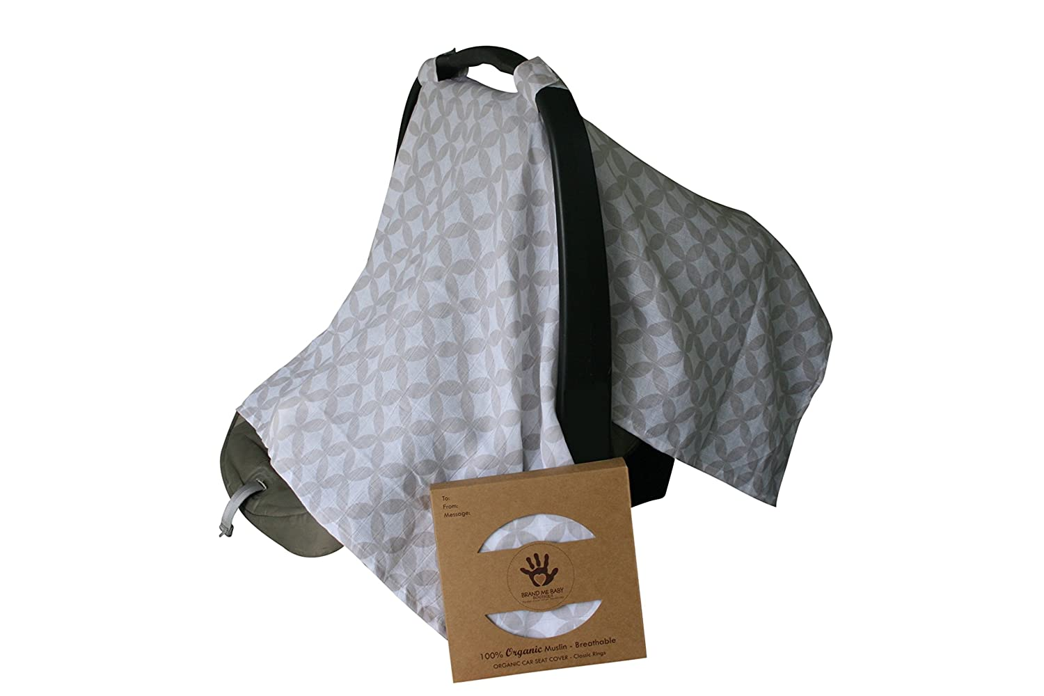 Amazon.com 100% ORGANIC Cotton Muslin CAR SEAT CANOPY/ COVER by BRAND ME BABY BOUTIQUE-Classic Rings/Boy/Girl Design-Best Baby Shower Gift!- Lightweight ...  sc 1 st  Amazon.com & Amazon.com: 100% ORGANIC Cotton Muslin CAR SEAT CANOPY/ COVER by ...