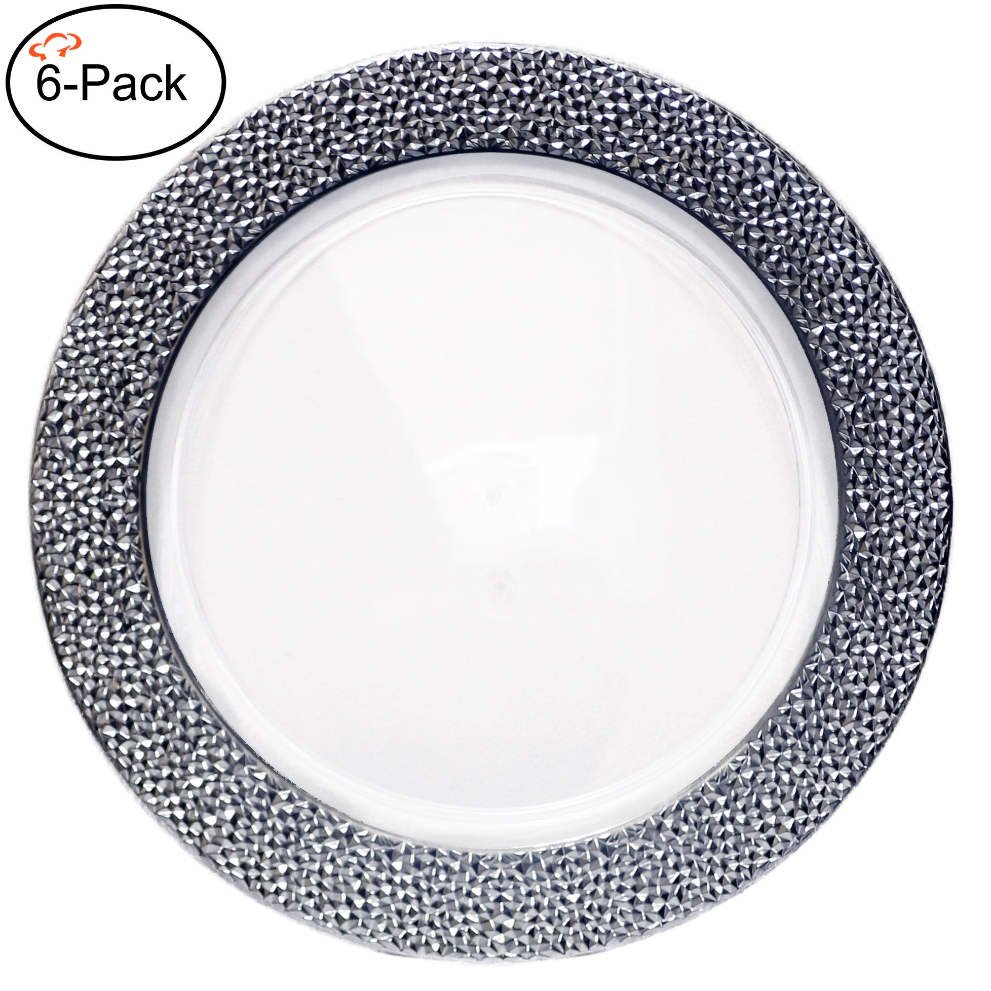 Tiger Chef 6-Pack 13 inch Round Clear with Silver Rim Hammered Plastic Charger Plates Disposable Set Silver Chargers Plates for Parties, Wedding, and Special Events (6, Clear with Silver Hammered Rim)