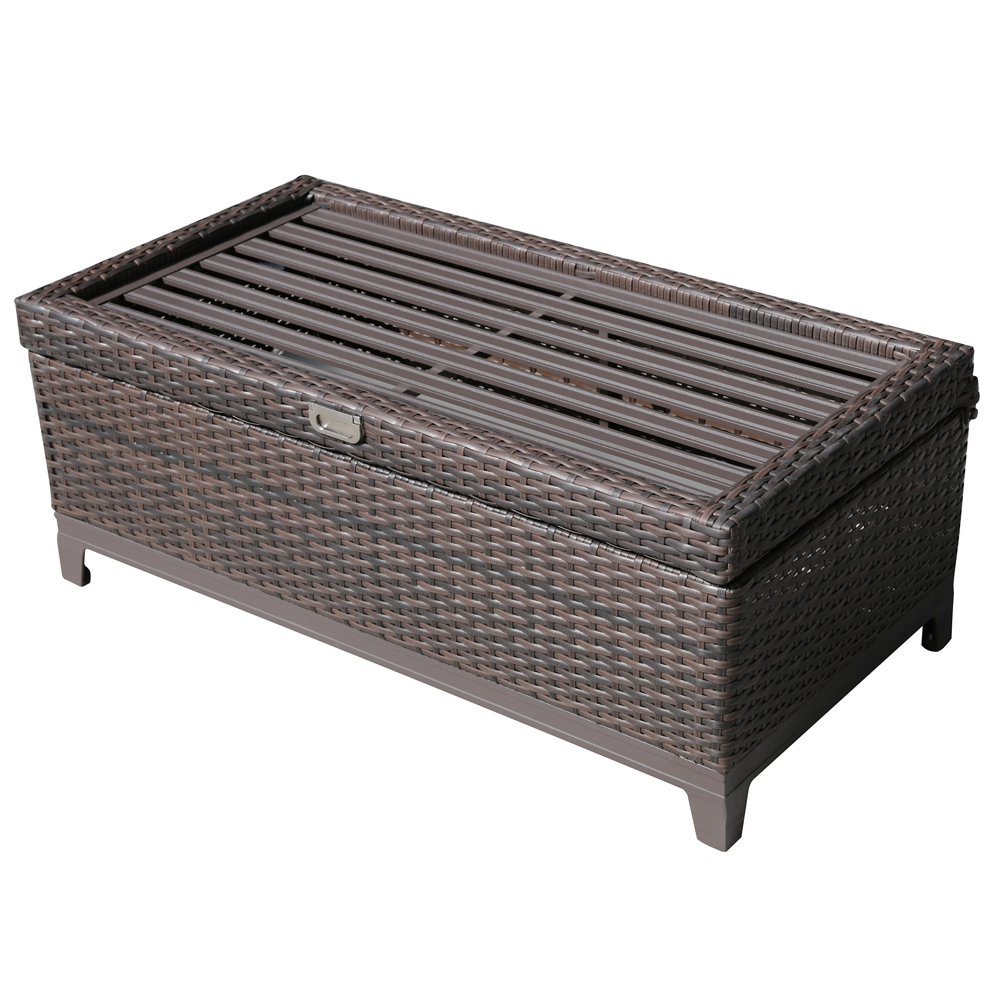 PATIOROMA Outdoor Patio Aluminum Frame Wicker Cushion Storage Ottoman Bench with Seat Cushion, Espresso Brown by PATIOROMA (Image #2)