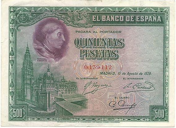 MATIDIA España, Billete Original 500 pesetas 1928 Cardenal Cisneros: Amazon.es: Juguetes y juegos