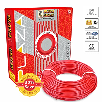 Plaza Wire 2.5 sq.mm CU PVC Insulated Industrial Cable 1100V -90MTR -Red
