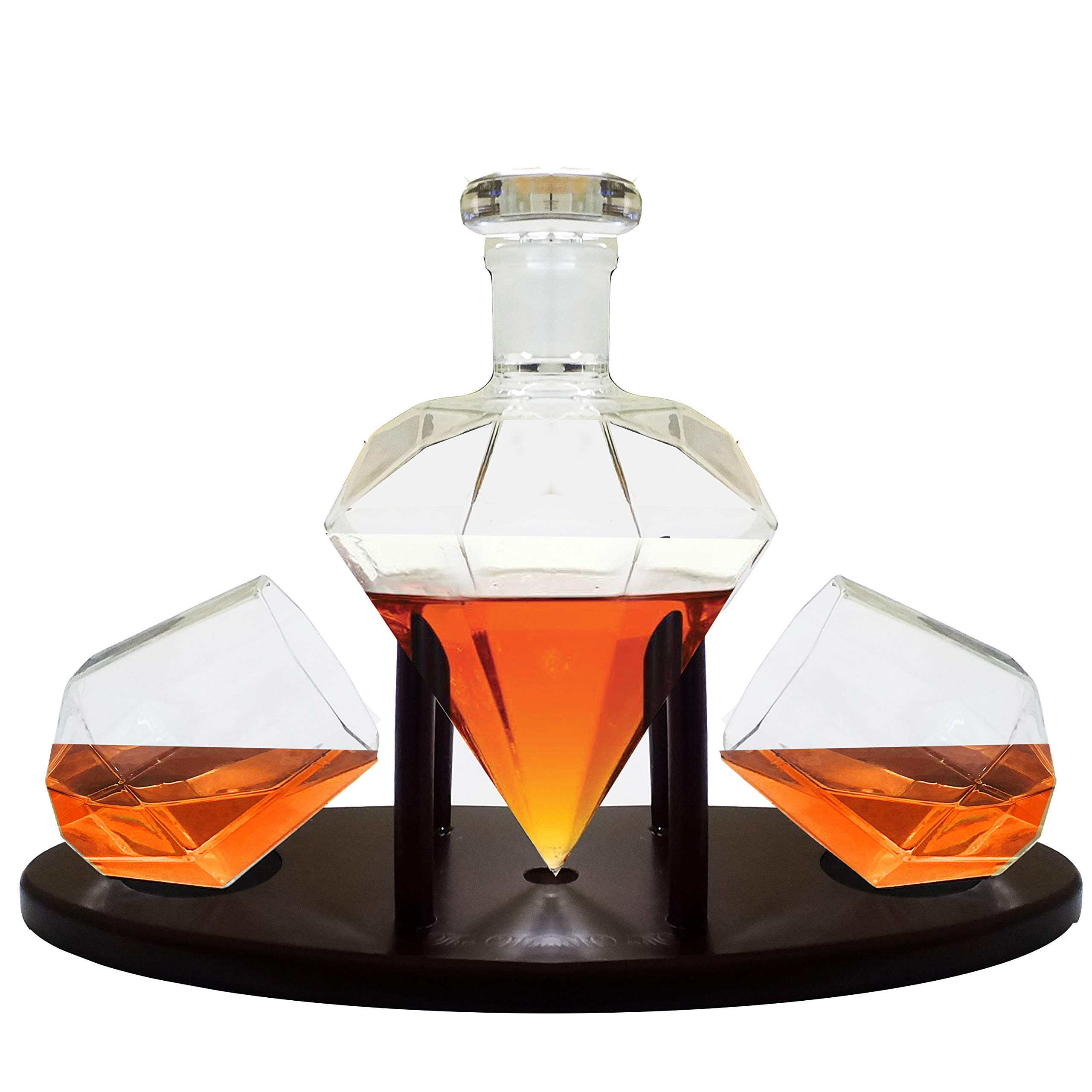 Whiskey Decanter Diamond shaped With 2 Diamond Glasses & Mahogany Wooden Holder - Elegant Handcrafted Crafted Glass Decanter For Liquor, Scotch, Rum, Bourbon, Vodka, Tequila - Great Gift Idea - 750ml by RUGLUSH (Image #2)