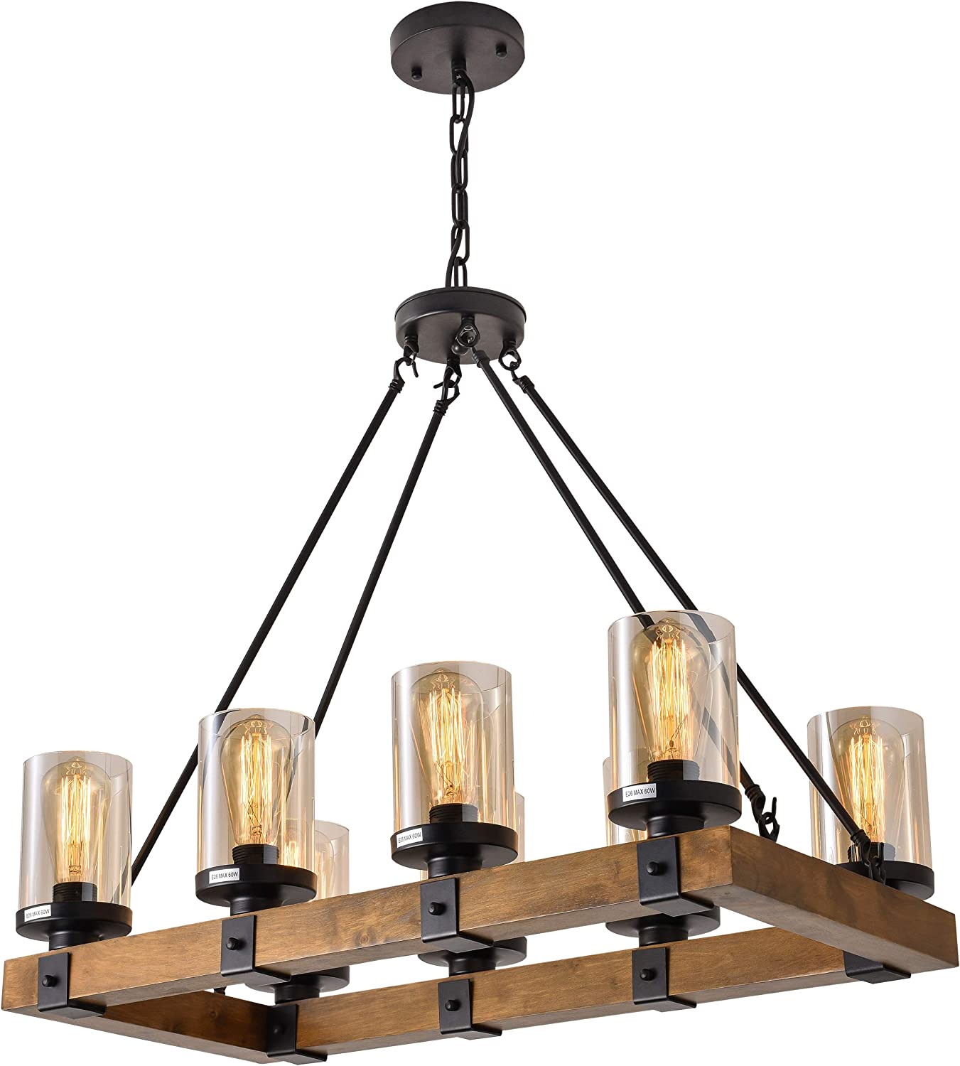 8-Light Farmhouse Wood Kitchen Island, Wood Chandeliers, Candle Pendant Light, Glass Lodge and Tavern Pendant Lighting 480W Max Bulb Not Included