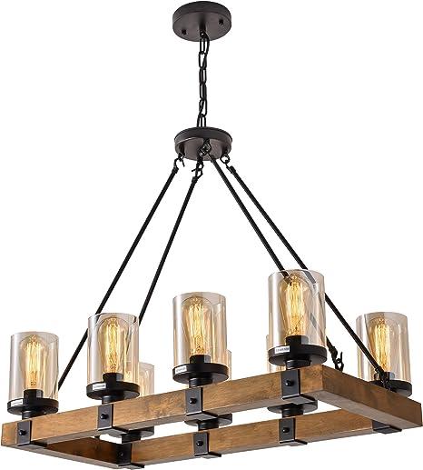 Amazon.com: Farol de 4 luces para cocina de madera, lámparas ...