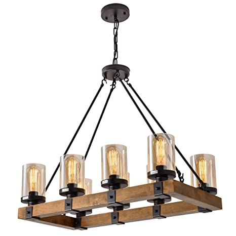 8-Light Farmhouse Wood Kitchen Island, Wood Chandeliers, Candle Pendant Light, Glass Lodge and Tavern Pendant Lighting 480W Max (Bulb Not Included)