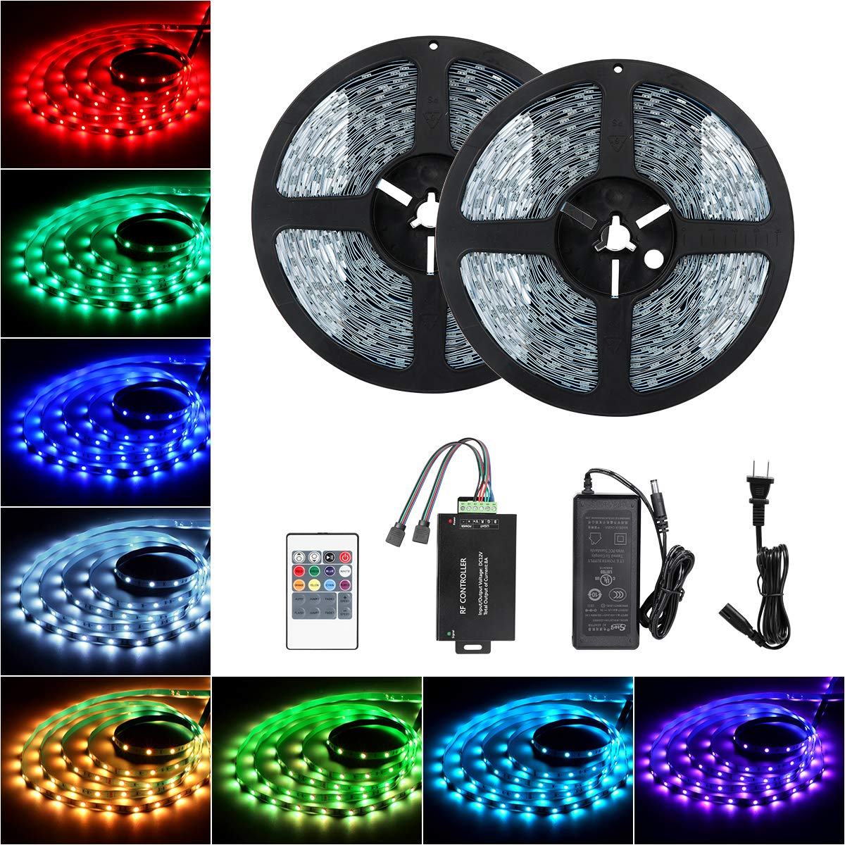 Tingkam 98.4 ft 30 M Non-Waterproof 5050 SMD RGB LED Flexible Strip Light White PCB Board Color Changing Decoration Lighting 300 LEDs Kit + 20 Key Remote Controller