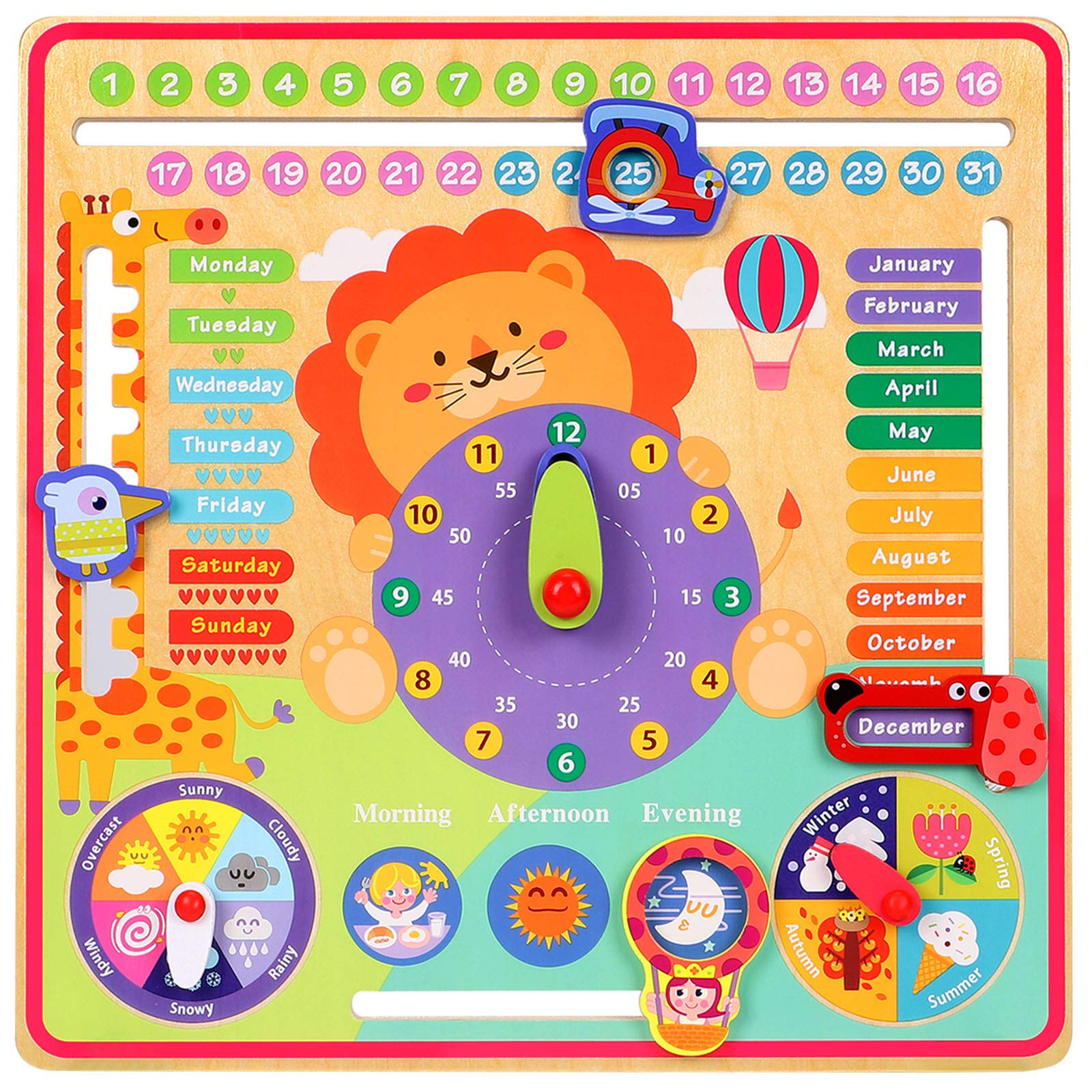 Toyssa 7 in 1 Kids Calendar Learning Clock My First Calendar Wooden Toys Educational Clock Montessori Toys for Toddlers Kids Boys Girl Christmas Birthday Gifts