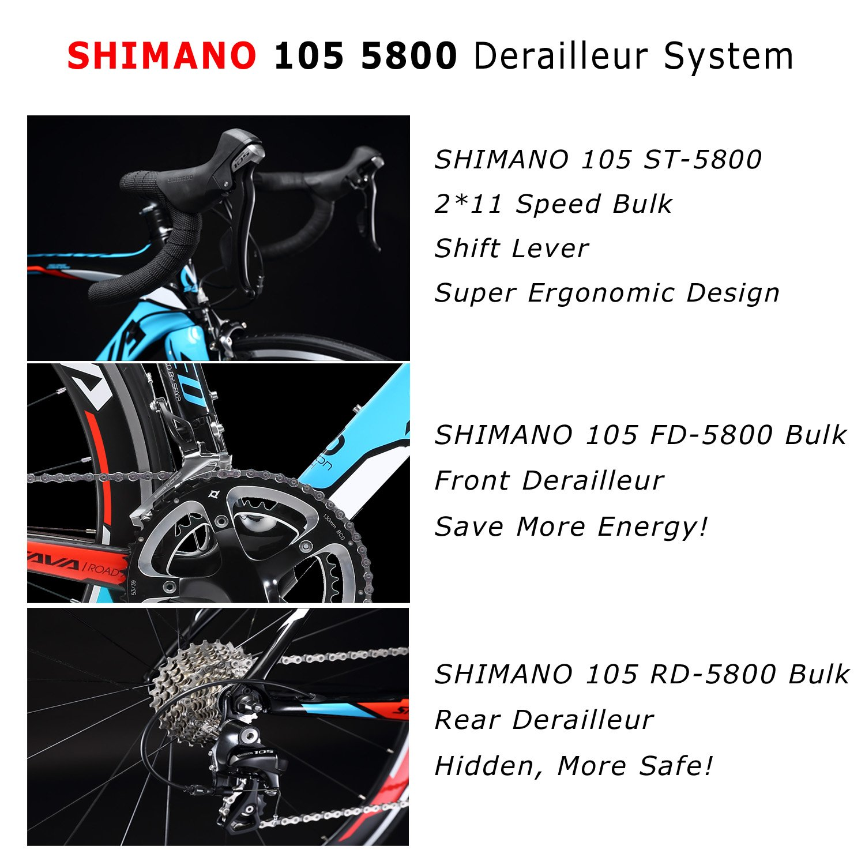 Kohlefaser Rennrad, SAVADECK Warwind5.0 700C Rennräder SHIMANO 105 ...
