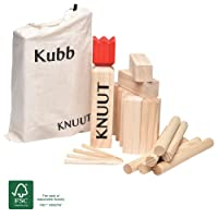 Moorland Kubb Garden Game Knuut with Carry Bag - Swedish Viking Lawn Game made of FSC® Certified Pine Wood - Large Pieces