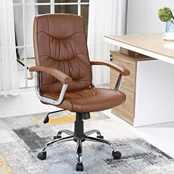 YAMASORO High Back Office Conference Drafting Chair, Bonded PU Leather  Swivel Task Chair (